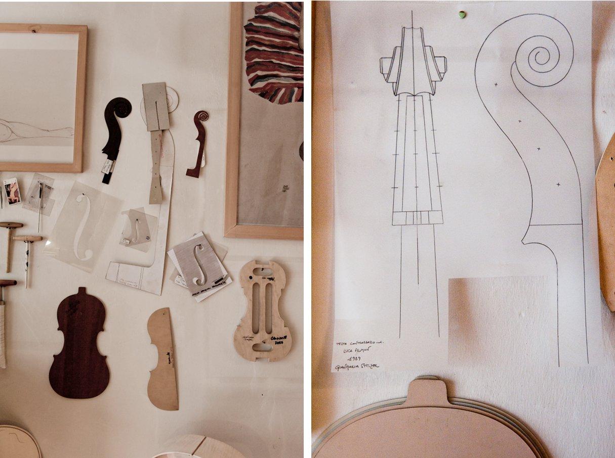 disegni preparatori per violoncello e strumenti liutaio a trento per Italian Stories