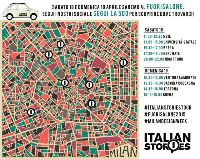 Italian Stories at Milan design week 2015 with a fiat 500