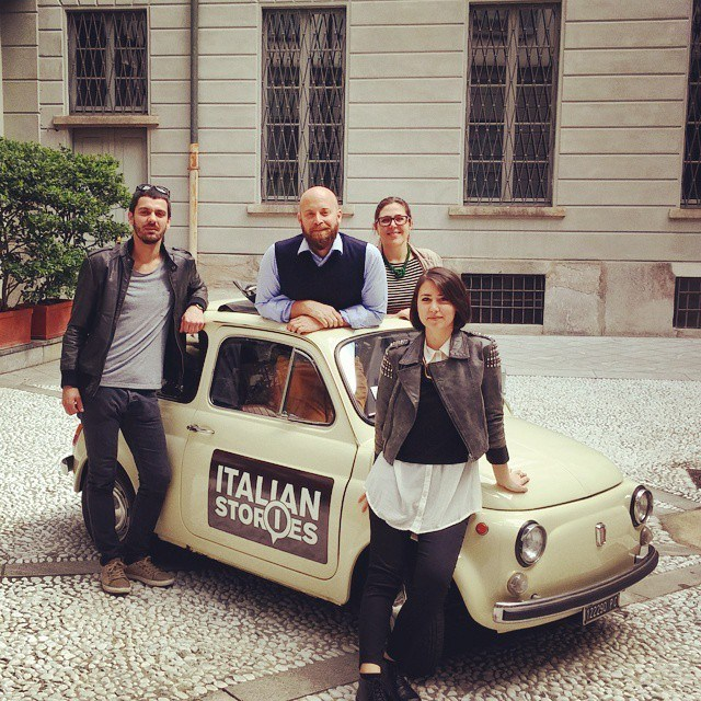 Italian Stories team ready for Milan Design week in their Fiat 500